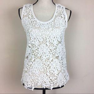 Loft Ann Taylor Crochet White Floral Top